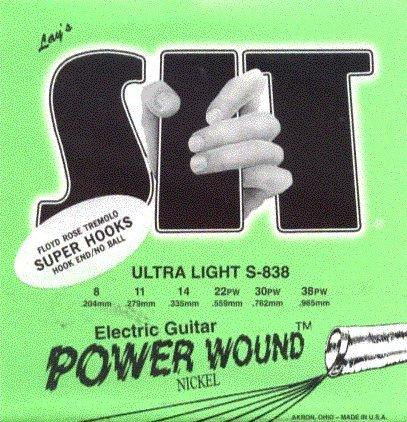 S I T Strings Electric Guitar Nickel Power Wound Super Hooks Ultra Light, .008 - .038, S838FR