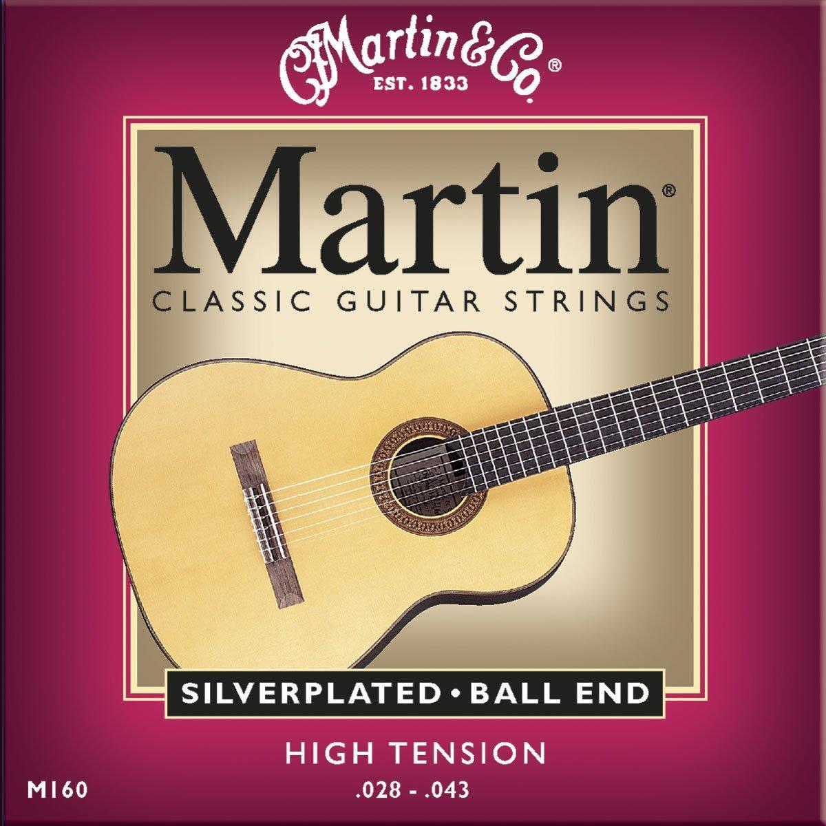 Martin M160 Silverplated Ball End Classical Guitar Strings, High Tension